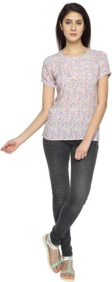 Texco Garments Casual Short Sleeve Printed Women's Pink Top