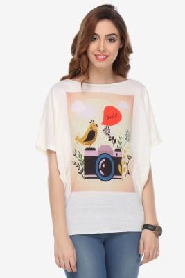 Varanga Party Kimono Sleeve Printed Women's White Top