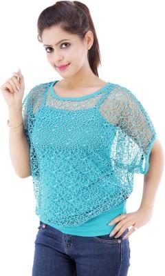 Divaz Fashion Casual Short Sleeve Self Design Women's Blue Top
