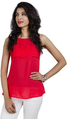 IDK Casual Sleeveless Solid Women's Red Top