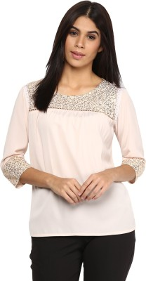 AR2 Party 3/4 Sleeve Embroidered Women's Pink Top