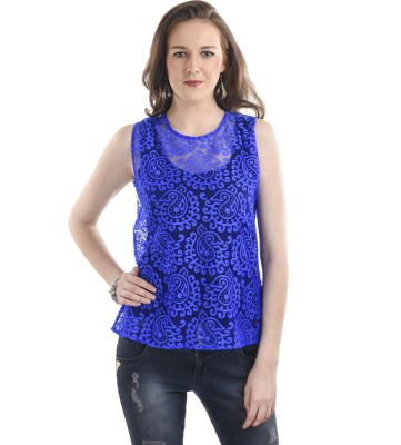 Ausehen Casual Sleeveless Solid Women's Blue Top