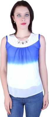 Zavi Casual Sleeveless Solid Women's Blue, White Top