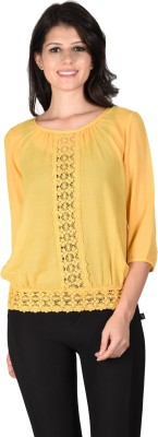 Latin Quarters Casual 3/4 Sleeve Solid Women's Yellow Top