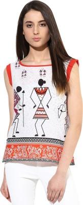 JaipurKurti Casual Sleeveless Graphic Print Women's White Top