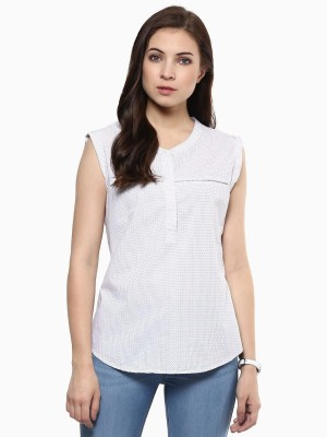 American Swan Casual Sleeveless Printed Women's White Top