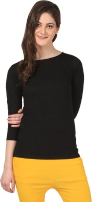 FashionExpo Casual 3/4 Sleeve Solid Women's Black Top