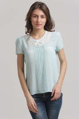 Moda Elementi Casual Short Sleeve Solid Women's Blue Top