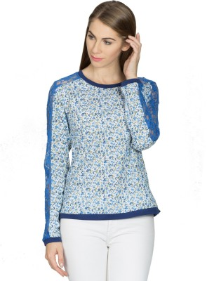 Miss Chick Casual Full Sleeve Printed Women's Blue Top