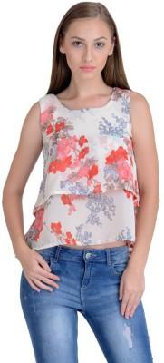 Raabta Fashion Casual Sleeveless Floral Print Girl's White Top