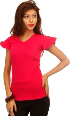 A N, E Casual, Beach Wear, Formal, Lounge Wear, Sports Cape Sleeve Solid Women's Pink Top