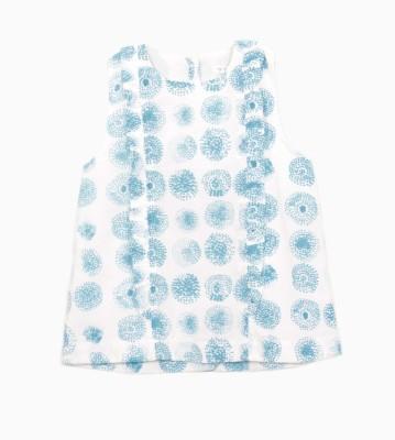 My Little Lambs Casual Sleeveless Printed Girl's Dark Blue Top