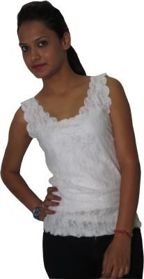 Modo Vivendi Casual Sleeveless Solid Women's White Top