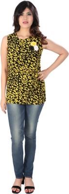 Dovekie Casual Sleeveless Self Design Women's Yellow, Black Top