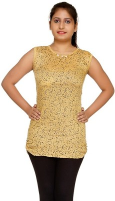 Uzee Casual Sleeveless Printed Women's Beige Top