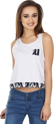 Ruse Casual Sleeveless Solid Women's White, Black Top