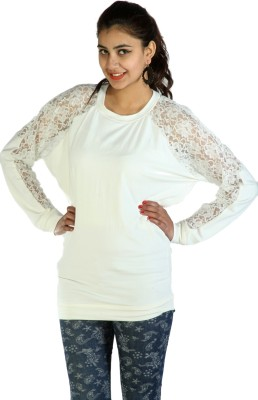 Lady Stark Casual Full Sleeve Solid Women's White Top