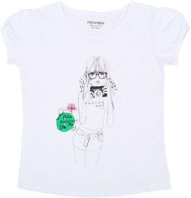 Minnow Casual Short Sleeve Printed Girl's White Top