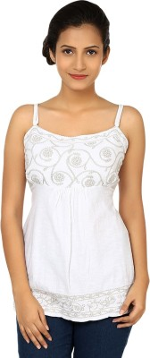 Rocha Casual, Festive, Formal, Party Sleeveless Embroidered Women's White Top
