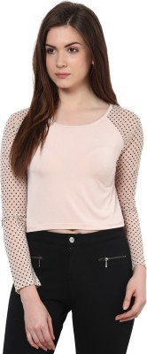 Kaxiaa Casual Full Sleeve Printed Women's Pink Top