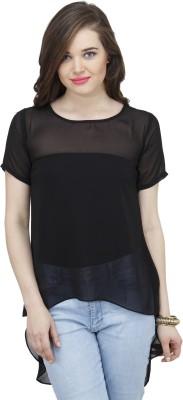 Osumfab Casual Short Sleeve Solid Women's Black Top