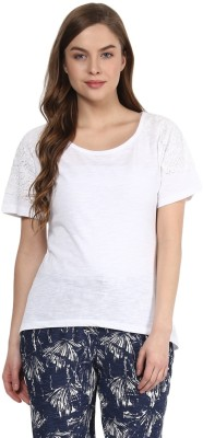 Rose Vanessa Casual Short Sleeve Solid Women's White Top