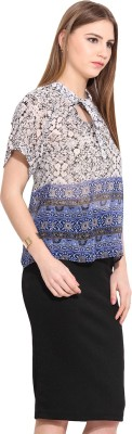 Desi Urban Casual Sleeveless Printed Women's White Top