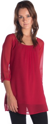 Miss Rich Casual 3/4 Sleeve Solid Women's Red Top