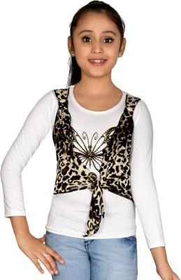 ABHIRA Casual 3/4 Sleeve Embellished Girl's White Top