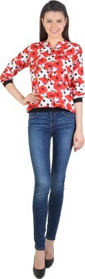 E Syrus Casual 3/4 Sleeve Printed Women,s Red Top