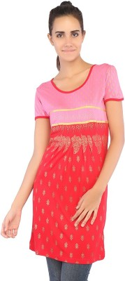 Ffashionstylus Party Short Sleeve Printed Women's Red Top