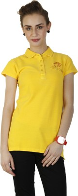 Duke Stardust Casual Short Sleeve Solid Women's Yellow Top