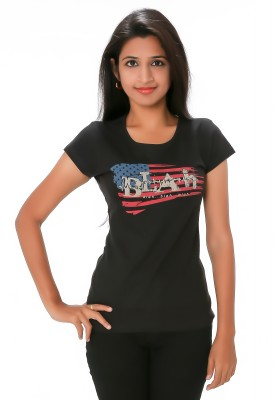 PEP18 Casual Short Sleeve Graphic Print Women's Black, Red Top
