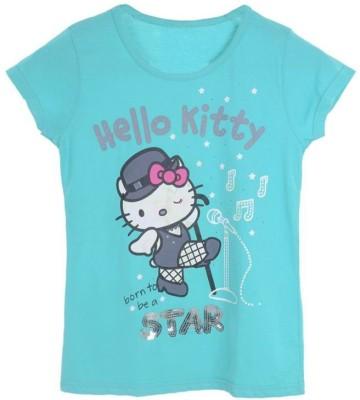 Joy N Fun Casual Short Sleeve Printed Girl's Blue Top