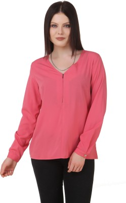 C2 Casual Full Sleeve Solid Women's Pink Top