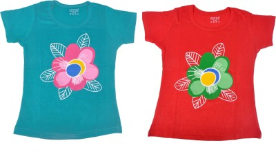 Perky Casual Short Sleeve Printed Girl,s Multicolor Top