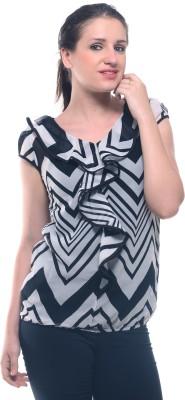 Lynda Casual Cape Sleeve Printed Women's White, Black Top