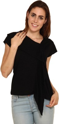 Miss Chick Casual Cape Sleeve Solid Women's Black Top