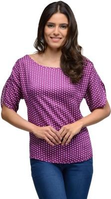 Gloria Casual Short Sleeve Self Design Women's Purple Top