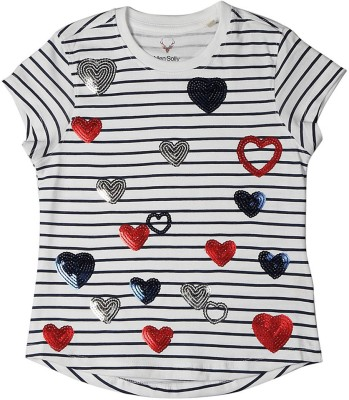 Allen Solly Casual Short Sleeve Embellished Girl's White Top