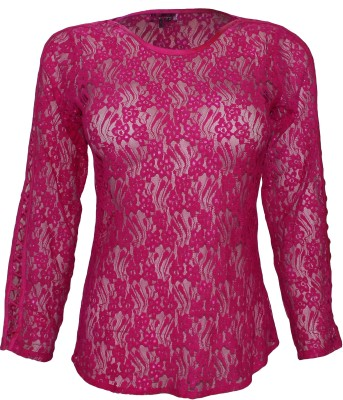 Attuendo Casual Full Sleeve Woven Women's Pink Top
