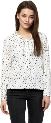 Color Cocktail Casual Full Sleeve Printed Women's White Top