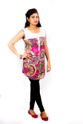 Pragati Fashions Casual Sleeveless Printed Women's Pink, White Top