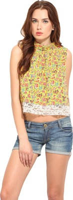 Blue Sequin Casual Sleeveless Printed Women's Yellow Top