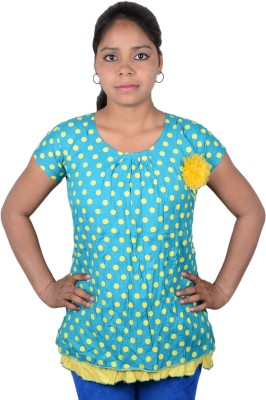 Austrich Casual Short Sleeve Printed Women's Blue Top