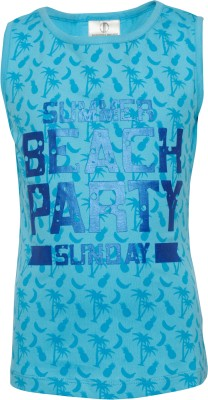 Joshua Tree Casual Sleeveless Printed Girl's Blue Top