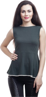 Five Stone Casual Sleeveless Solid Girl's Dark Green Top