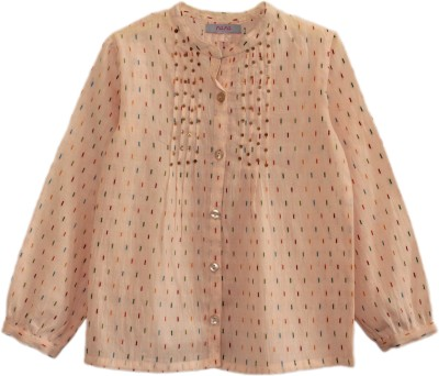 My Little Lambs Casual Full Sleeve Self Design Girl's Pink Top