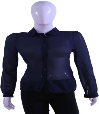 Private Affairs Casual Full Sleeve Solid Women,s Blue Top