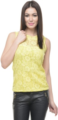 Mayra Formal Sleeveless Self Design Women's Yellow Top at flipkart